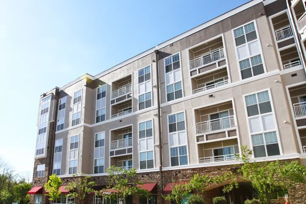 Beautiful exterior of apartments for rent at Manor Six Forks in Raleigh, NC