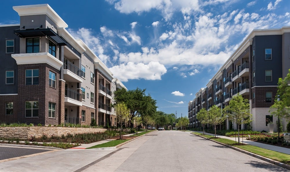 Exterior view of apartments for rent at Axis at Wycliff in Dallas, TX