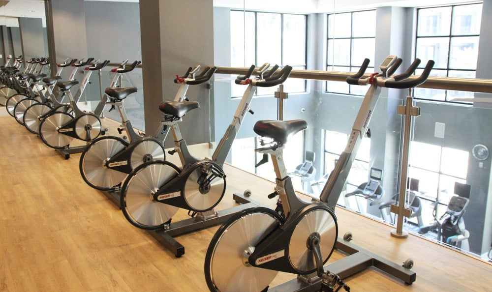 Indoor Fitness Area at Axis at Wycliff in Dallas, TX