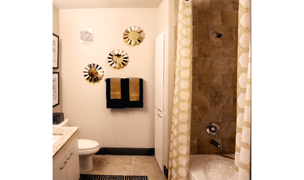 Apartment Bathroom at Axis at Wycliff in Dallas, TX