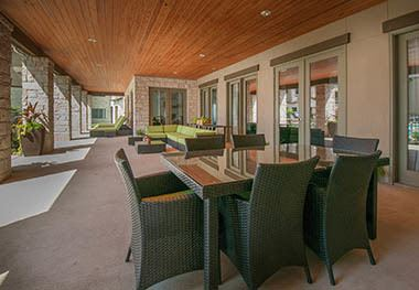 Outdoor patio seating at Carrington Oaks