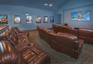 Community theater room at Carrington Oaks