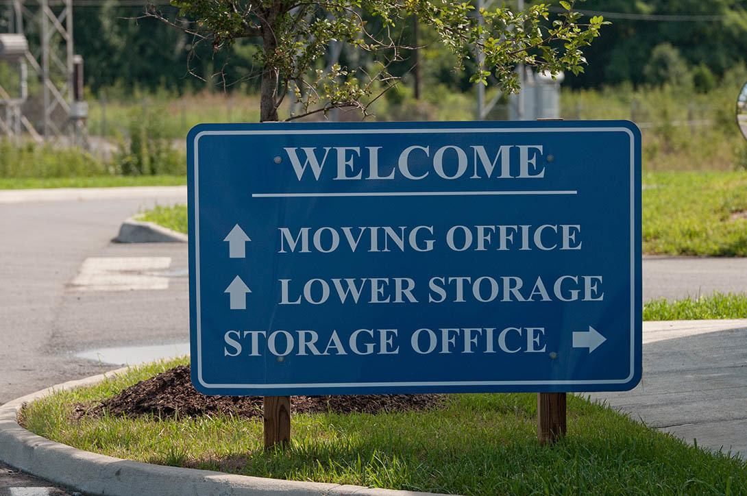 Sign at self storage facility