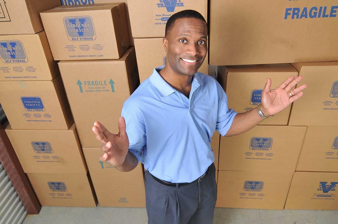 Boxes at self storage facility