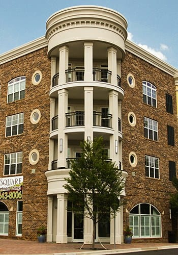 Exterior of the Ashley Square apartments under WRH Realty Services, Inc