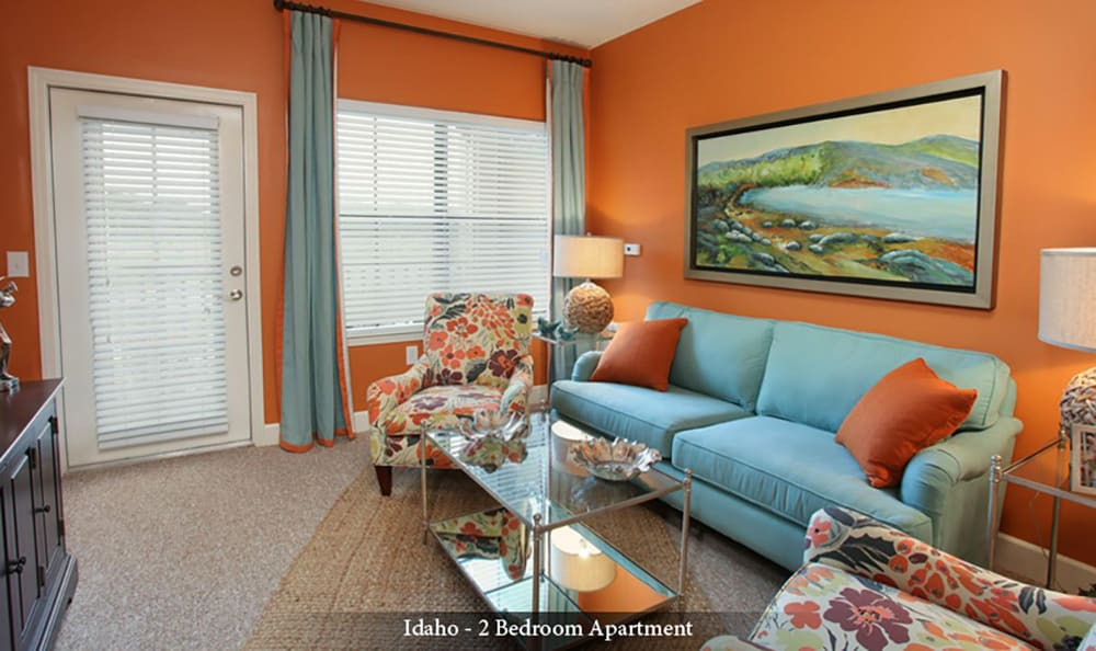 Living room in a senior apartment at American House Wildwood