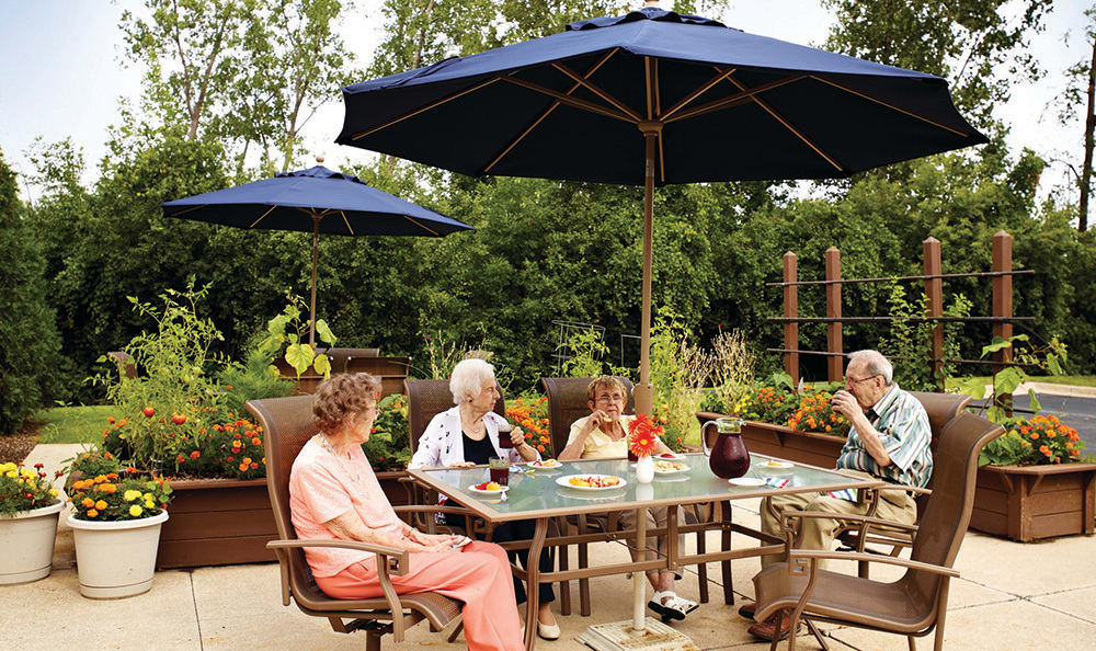 Relax On The Patio At Senior Living In Plainfield, IL