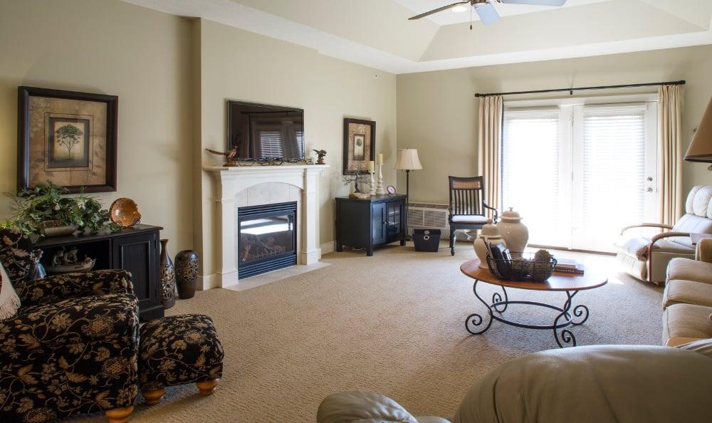 Example Apartment Living Room at Senior Living In Jenison, MI