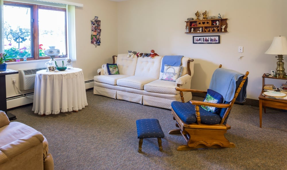 Example Apartment living room at Senior Living In Kentwood, MI