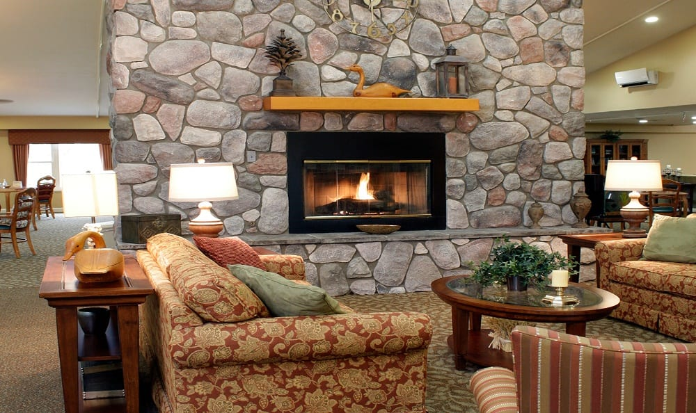 Relax by the Fire at Senior Living In Petoskey, MI