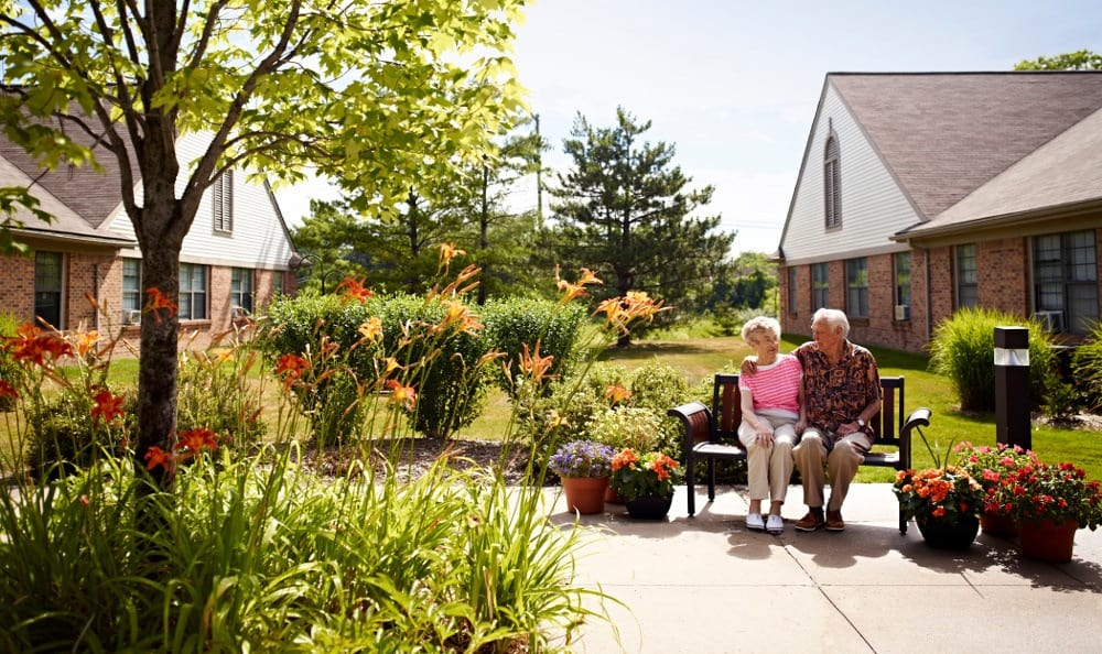Relax In the Courtyard At Senior Living in Rochester Hills, MI