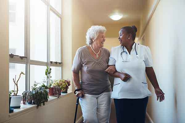 Resident and nurse at The Trace