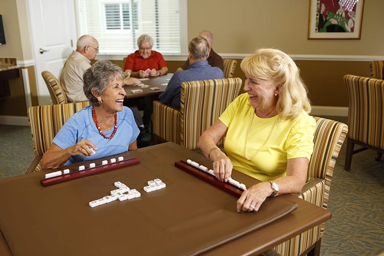 Senior living residents in Delaware enjoy some games together.