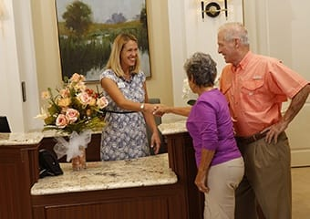 Senior living resident visiting with a relative in Tampa