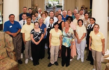Senior living community staff members in Tampa.