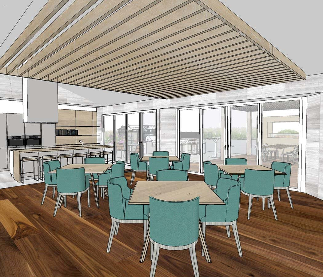 Clubhouse At TAVA Waters Dining Area