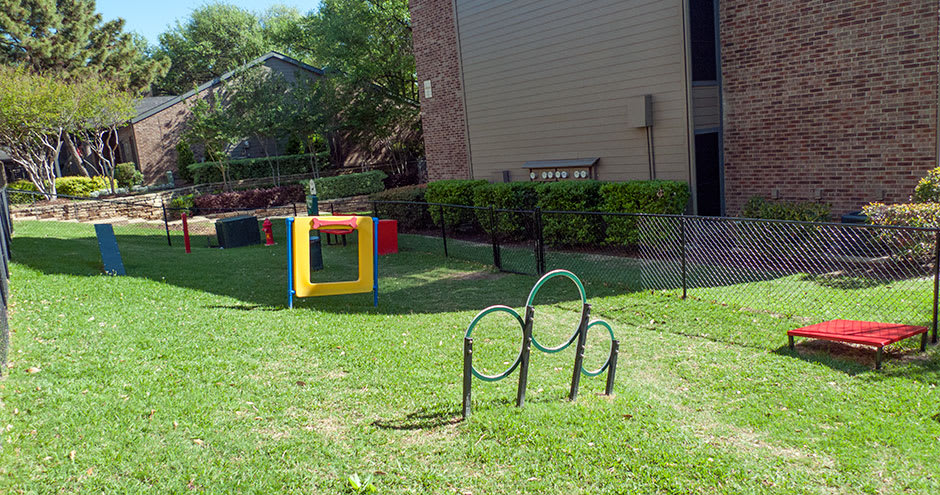 Beautiful dog park at Promenade at Valley Ridge in Irving, TX