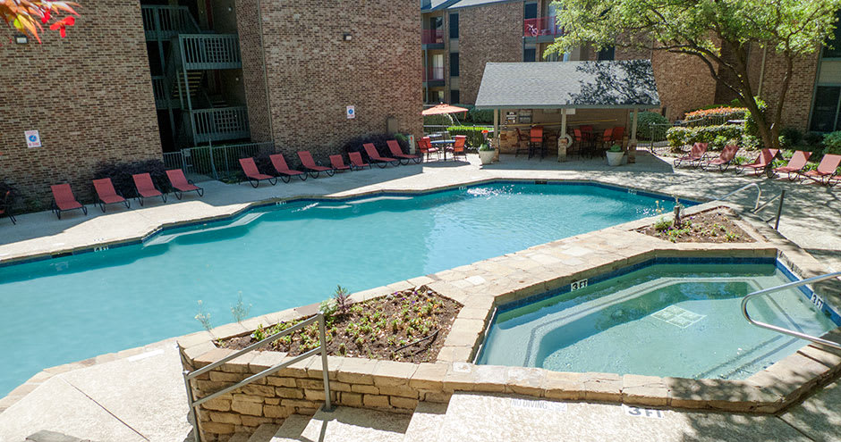 Swimming pool at apartments in Irving, TX