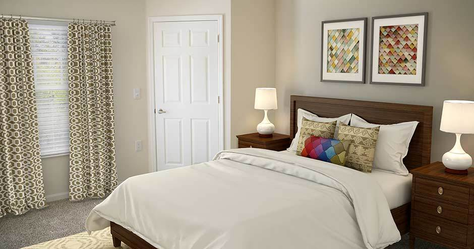 Bedroom at apartments in Winter Park, FL