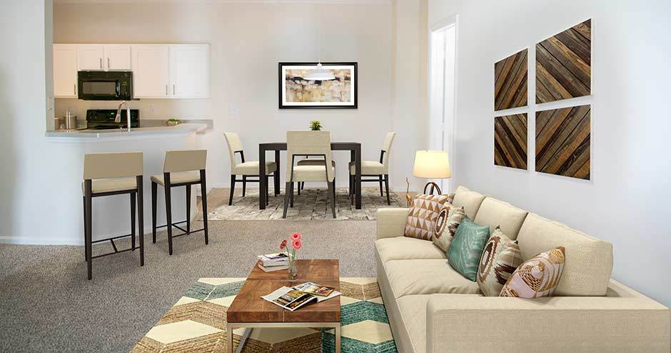 Modern living room at apartments in Winter Park, FL