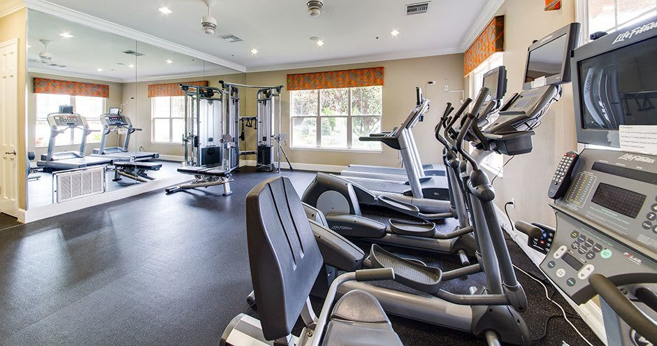 Fitness center at apartments in Winter Park, FL