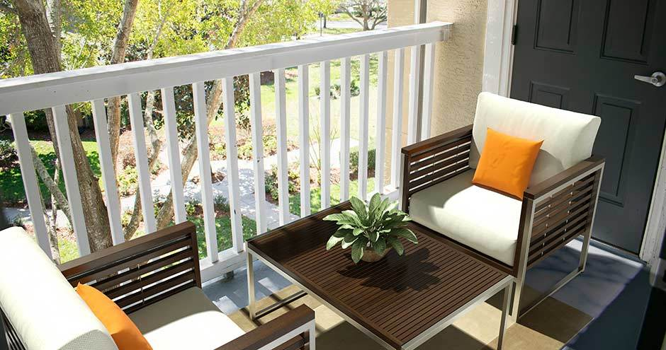 Private balcony at apartments in Winter Park, FL