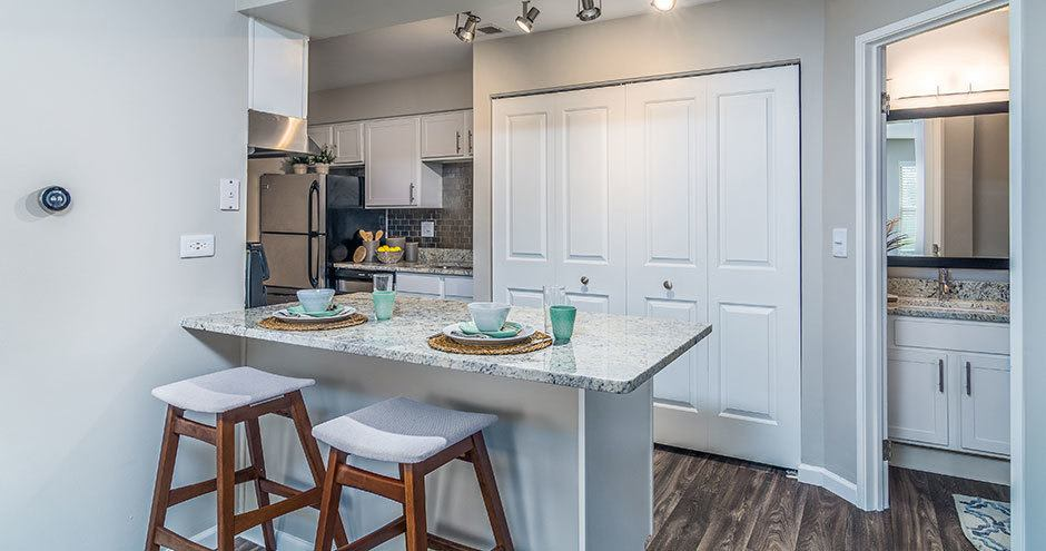 Natrually well-lit kitchen at Windscape of Naperville Apartments in Naperville, IL