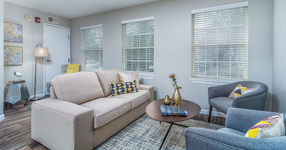 Beautiful living room at Windscape of Naperville Apartments in Naperville, IL