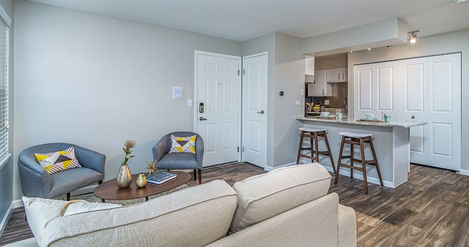 Enjoy a beautiful living room at Windscape of Naperville Apartments