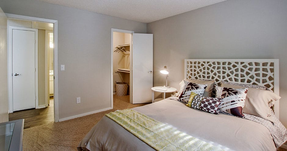 Bedroom at apartments in Wichita, KS