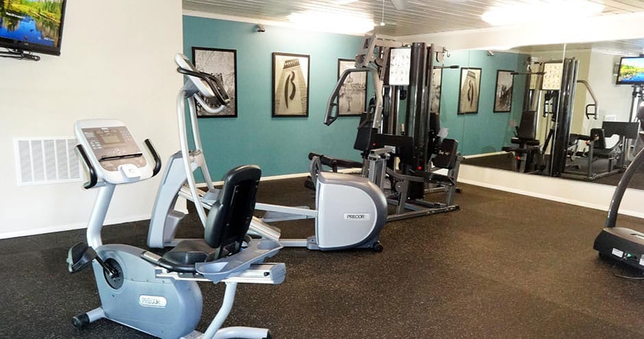 Spacious fitness center at Sundance Apartments in Wichita, KS