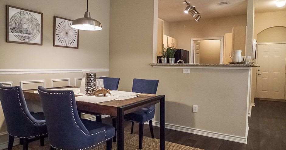 Modern dinning table at apartments in Fort Worth, Texas