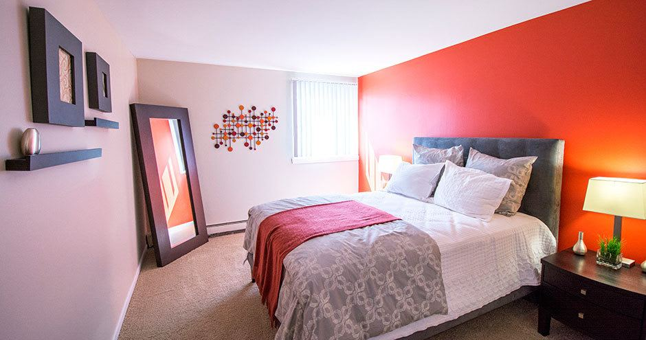 Beautiful bedroom at Prentiss Creek at Downers Grove in Downers Grove, Illinois