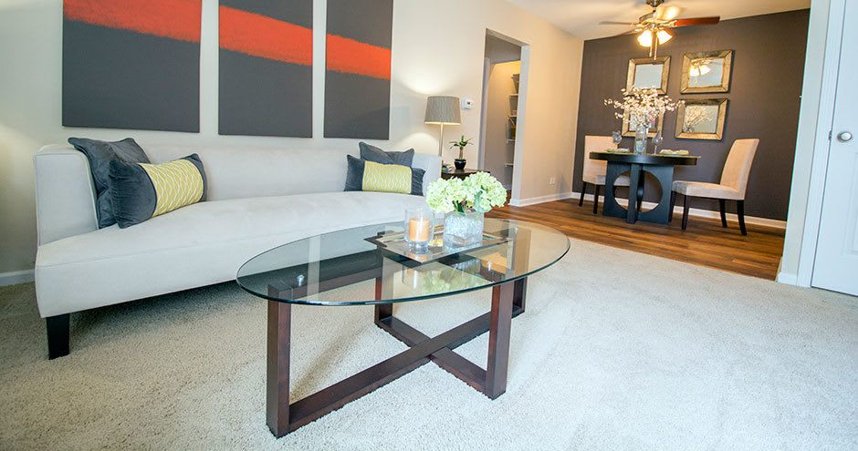 Luxury living room at Prentiss Creek at Downers Grove in Downers Grove, Illinois