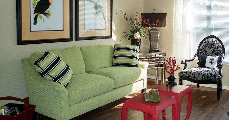 Modern living room at apartments in San Antonio, TX