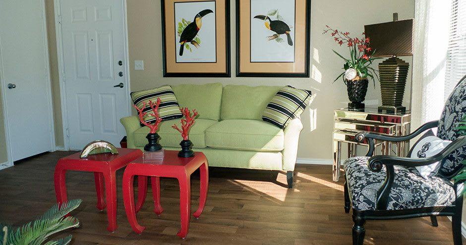 Modern living room at Republic Woodlake in San Antonio, TX
