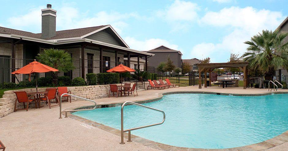 Beautiful swimming pool at apartments in San Antonio, TX