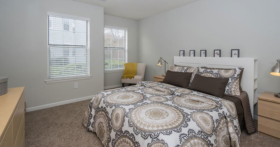 Beautiful bedroom at Paces River Apartments in Rock Hill, South Carolina