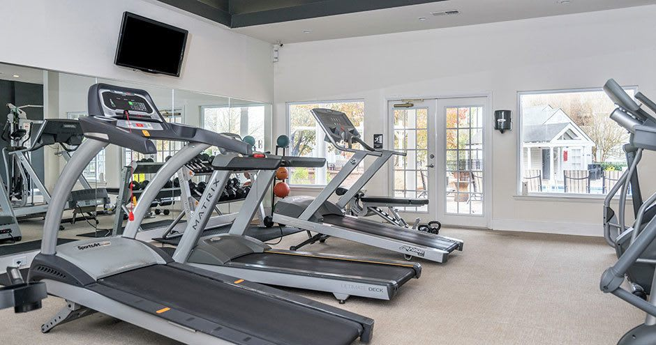 Spacious fitness center at Paces River Apartments in Rock Hill, South Carolina