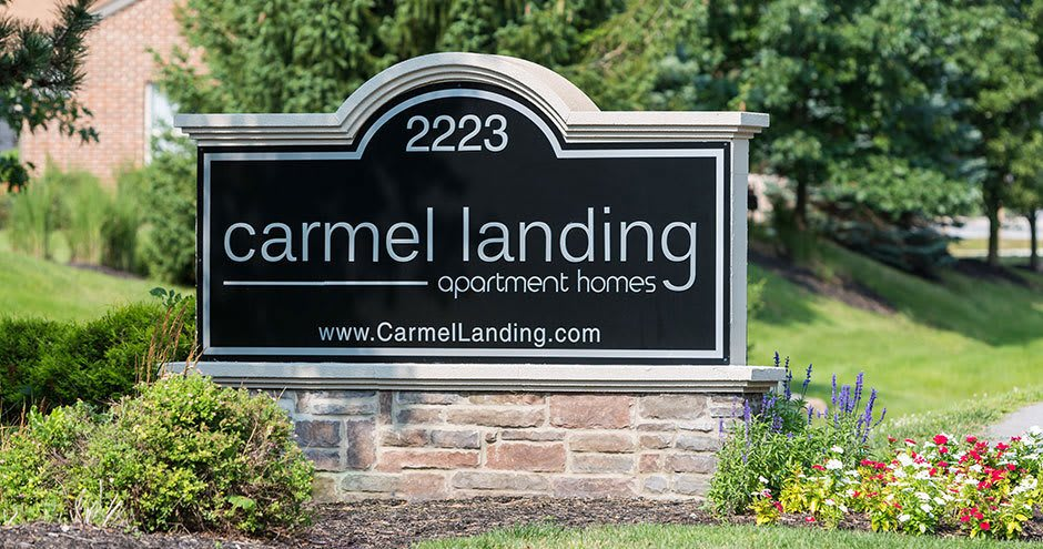 Apartment signage at Carmel Landing in Carmel, IN