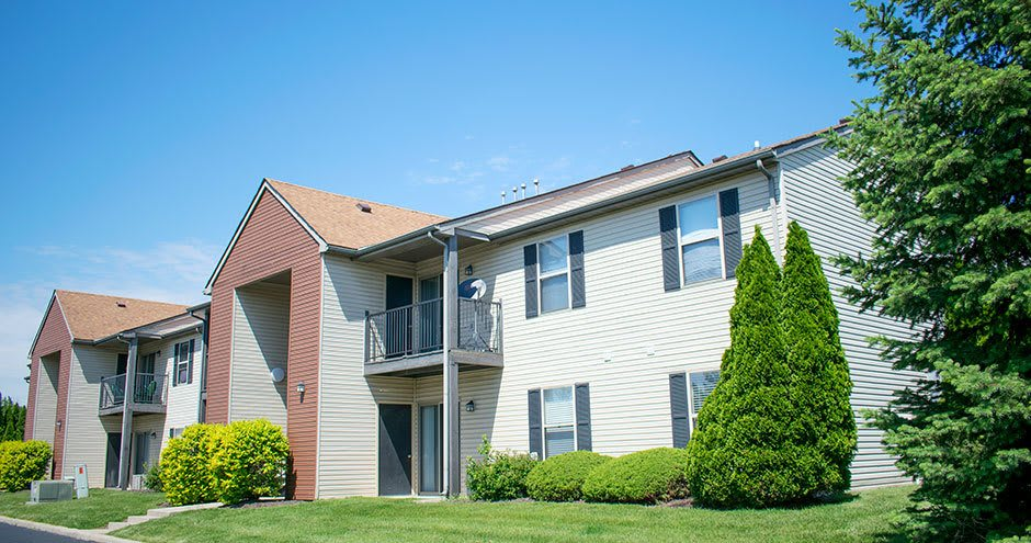 Enjoy the beautiful front view of Carmel Landing apartments