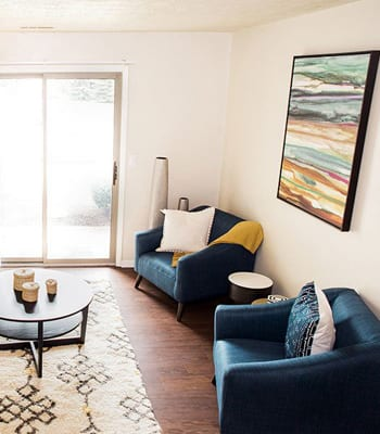 Living Room at stylish apartments in Carmel