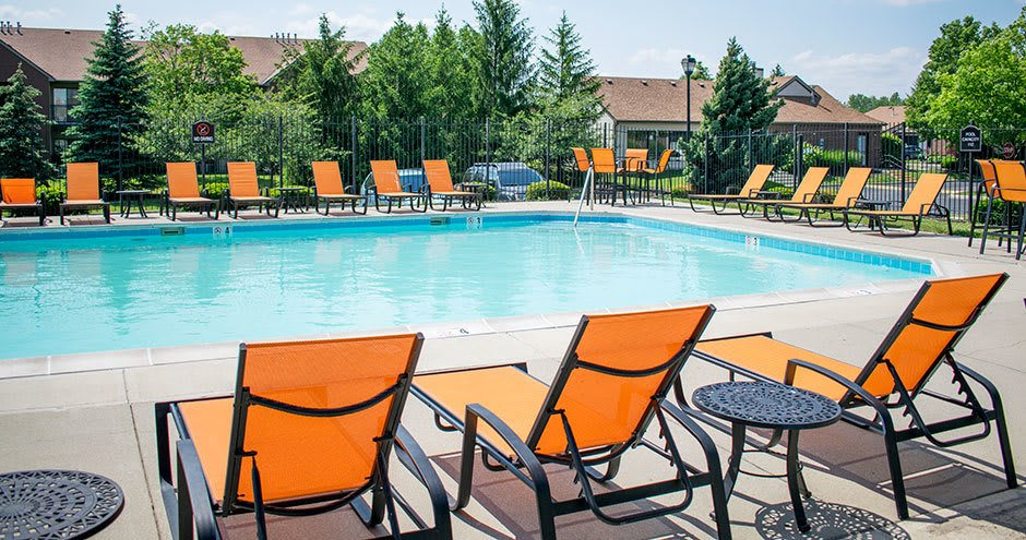Beautiful swimming pool at apartments in Carmel, Indiana