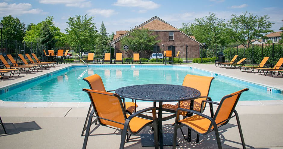 Unique swimming pool at apartments in Carmel, Indiana