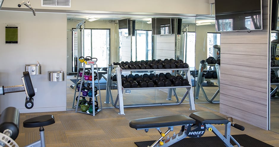 Spacious fitness center at The Views of Naperville in Naperville, IL