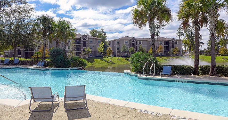 Swimming pool at apartments in Humble, TX