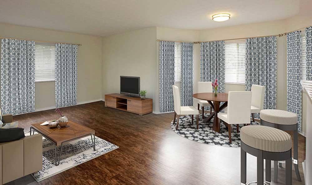 Spacious living room at Pavilions at Deer Chase in Deerfield Beach, Florida