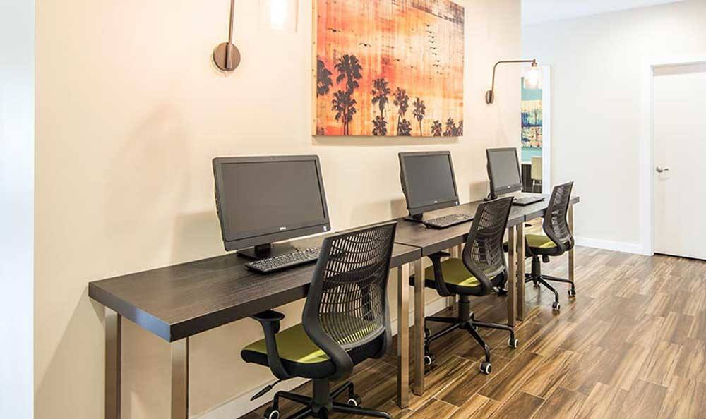 Renovated computer lab at apartments in Deerfield Beach, FL