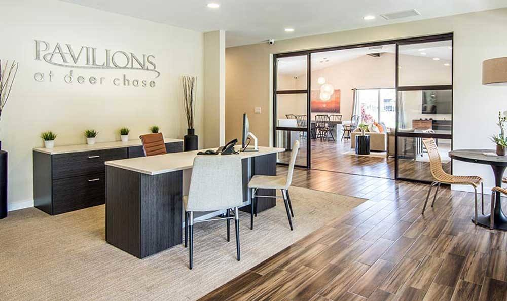 Apartments reception atPavilions at Deer Chase in Deerfield Beach, Florida