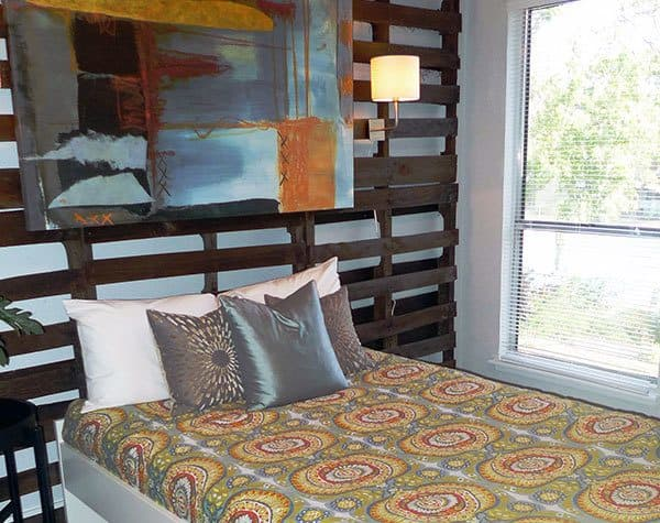 A bedroom at stylish apartments in Austin